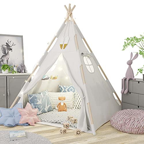 Tipi Zelt für Kinder - Tippi Kinderzelt für drinnen - Tipi Zelt Kinderzimmer - Spielzelt Mädchen und...