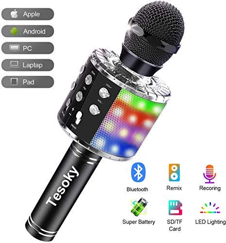 Tesoky Karaoke Mikrofon mit Lichteffekte,Upgraded 4-in-1 Drahtloses Bluetooth Mikrofon für Kinder -...