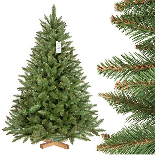 FairyTrees künstlicher Weihnachtsbaum FICHTE Natur, grüner Stamm, Material PVC, inkl. Holzständer,...