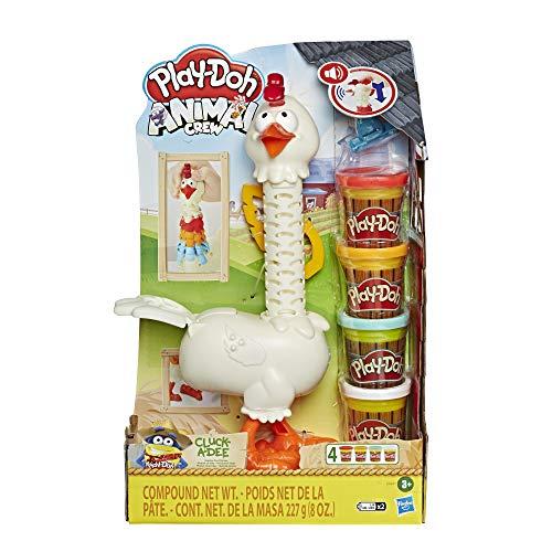 Play-Doh E6647 Animal Crew Cluck-a-Dee Verrücktes Huhn, Bauernhof-Spielset mit 4 Farben Knete