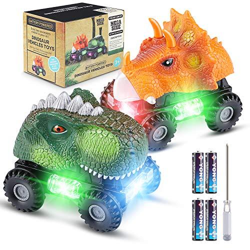 Vimzone Dinosaurier Autos für Kinder, Dinoautos Spielzeug mit Großem Reifenrad LED-Licht Realistischer...