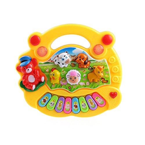 TOYMYTOY Tier-Keyboard Kinder Baby Tastatur Klavier Musikinstrumente Entwicklungs Musik Spielzeug (Gelb)
