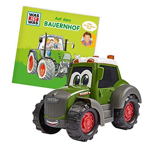 Dickie Toys 203812008 Was ist Was-Bauernhof, Fendt Traktor mit Freilauf, inkl. Was ist Was Buch, farbecht...
