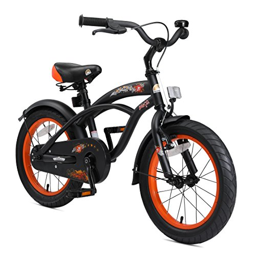 BIKESTAR Kinderfahrrad für Jungen ab 4-5 Jahre | 16 Zoll Kinderrad Cruiser | Fahrrad für Kinder Schwarz...