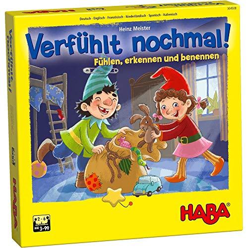 HABA 304508 – Verfühlt nochmal!, Fühlspiel für Kinder ab 3 Jahren, Lernspiel mit Holzteilen schult...
