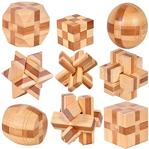 Holzsammlung 9 Stück 3D Puzzle Holz Gehirnjogging Puzzles Geschicklichkeitsspiel Denksportaufgaben...