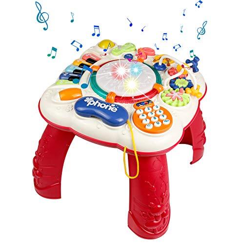 Symiu Baby Spielzeug Spieltisch 6 In 1 Baby Musikinstrumente für Kinder mit Trommel und Klavier...