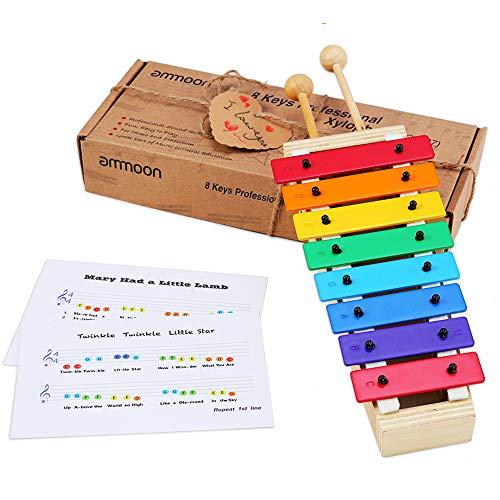 Glockenspiel für Kinder, ammoon Xylophon Holzspielzeug ungiftig Babyspielzeug mit 8 Tasten kompakte...