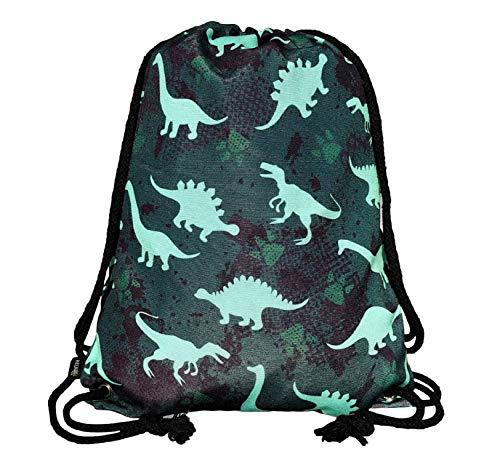 HECKBO Turnbeutel Mädchen Junge - Dino Dinosaurier Motiv - 40x32cm - Kindergarten, Kita, Krippe -...