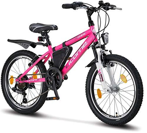 Licorne Bike Guide (Rosa/Weiß), 20 Zoll Mountainbike, geeignet für 6,7,8, 9 Jahre,Shimano 18...