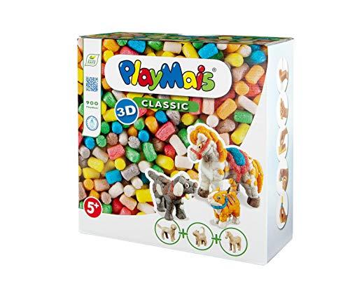 PlayMais 3D Domestic Animals Bastel-Set für Kinder ab 5 Jahren | Über 900 Stück & 3 Tierfiguren aus...