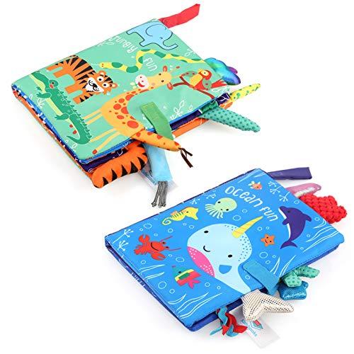 LEADSTAR Baby Stoffbuch, 2 Stück Baby Soft Bilderbuch Badebuch Tuchbuch Kuschelbuch Babybuch Spielbuch...