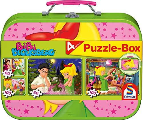 Schmidt Spiele 55595 Bibi Blocksberg, 4 Kinderpuzzle im Metallkoffer, 2x60 und 2x100 Teile