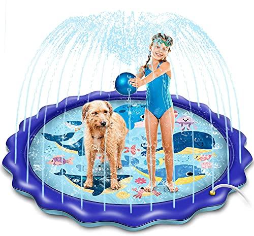BASEIN Splash Pad, 170cm Splash Play Matte Sprinkler Wasser-Spielmatte Anti-Rutsch Spielzeug Sprinkler...