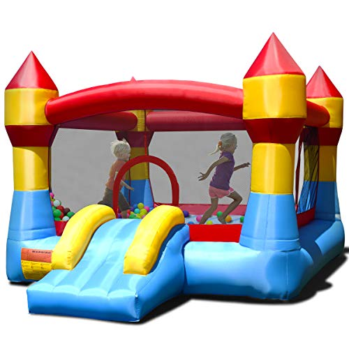 DREAMADE Hüpfburg Hüpfhaus für Kinder, Spielhaus Spielburg aufblasbar, Springburg Hüpfschloss mit...