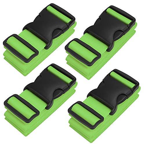 Koffergurt, 4-Stück Gepäckgurt Kofferband der Koffer verstellbar der Koffer-Grün