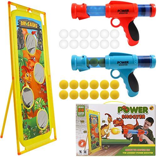 DigHealth 2 Stücke Schaumball Pistole und Dinosaurier Schießt Ziel, Kinder Schießspielzeug Pistole mit...