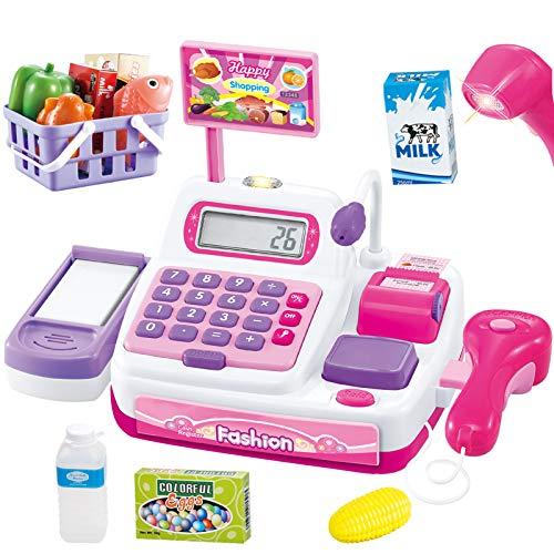Buyger 34 Stück Elektronische Kasse Spielzeug Supermarkt Registrierkasse mit Scanner Mikrofon Kaufladen...