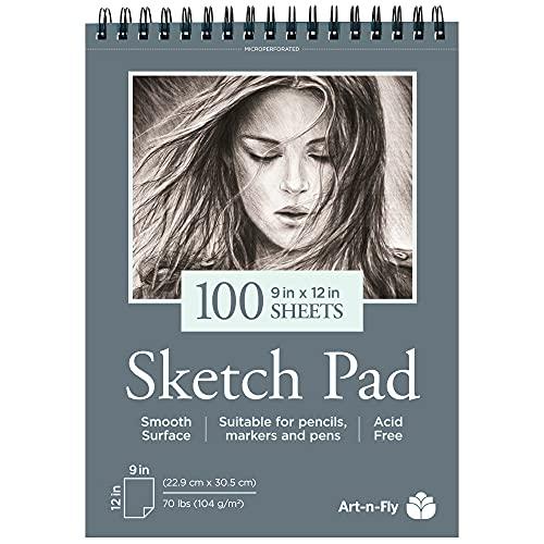 Zeichenblock 100 Blatt Skizzenbuch A4 22,9 x 30,5 cm – Skizzenblock Glattes Papier Spiralbindung –...
