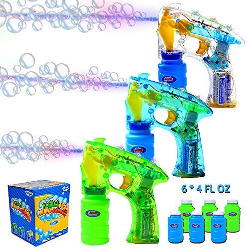 JOYIN 3 Seifenblasen Pistolen, LED Seifenblasenpistole mit 6X Seifenblasen Flüssigkeit, Bubble Gun