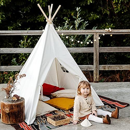IREENUO Tipi/Zelt für Kinder mit Lichterkette, Tragetasche & Bodenmatte, faltbare Kinder-Spielzelte,...