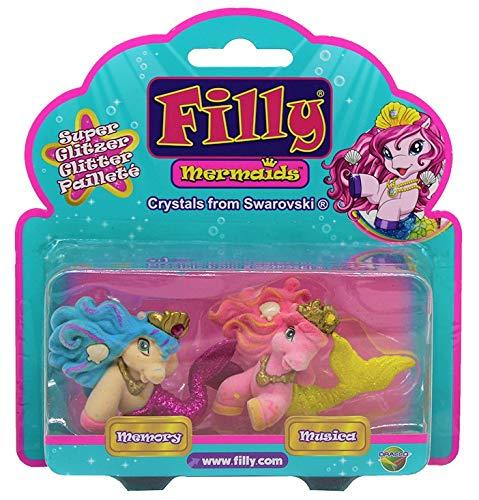 Dracco Filly Mermaids mit Glitzernder Schwanzflosse, Krone mit Swarovski Kristall, 2er-Pack für Kinder,...