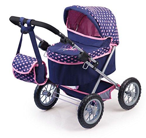 Bayer Design 1305200 13052AA Puppenwagen Trendy, höhenverstellbar, zusammenklappbar, mit Tasche, Motiv:...