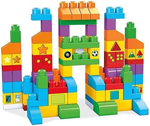 Mega Bloks FVJ49 - Bausteintasche mit 150 Bausteine in Bunt mit Zahlen und Symbole, Spielzeug ab 1 Jahr