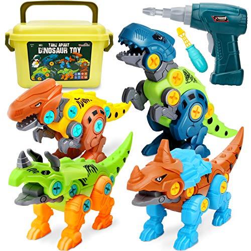Dreamon Dinosaurier Spielzeug für Kinder Montage Toys mit Aufbewahrungsbox Elektrische Bohrmaschine, DIY...