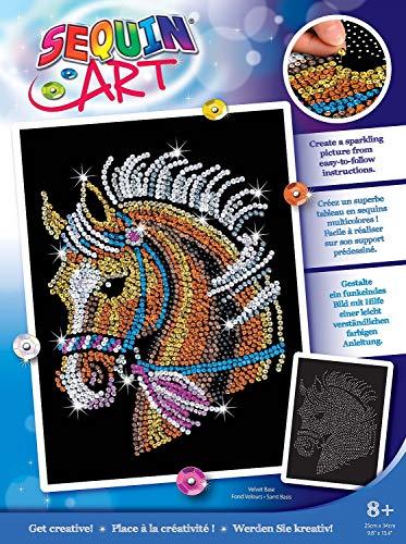 MAMMUT 8041517 - Sequin Art Paillettenbild Pferd, Steckbild, Bastelset mit Styropor-Rahmen, samtige...