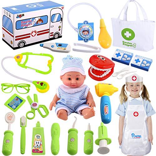 Joyjoz Kinder Arztkoffer Spielzeug Doktor 25 Stück Medizinisches Spiele Rollenspiel Spielzeug...