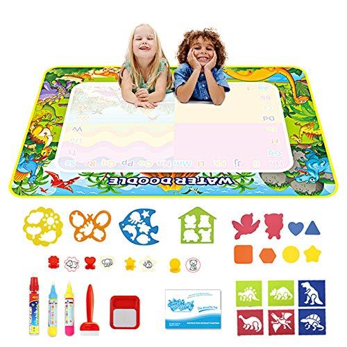 welltop Wasser Doodle Matte 120 x 70 cm, Aqua Magic Doodle Malmatte mit 3 Magic Stifte & 4 Stempelset, 14...