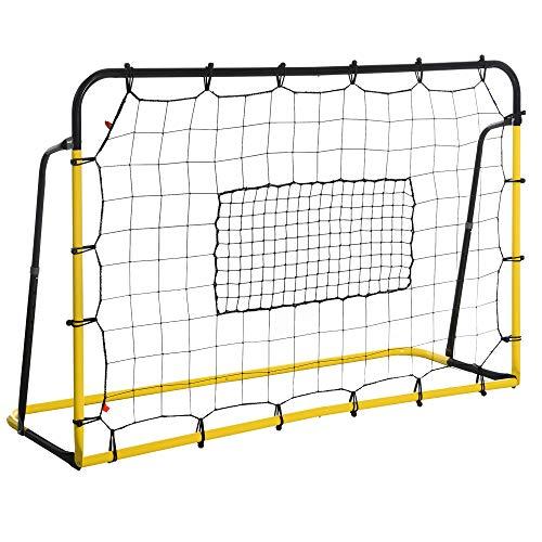 HOMCOM Kickback Fußball Rebounder Tor Rückprallwand Netz für Fußball, Basketball und Baseball,...