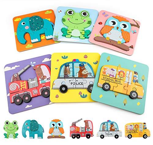 COCHIE Holzspielzeug 6 Stücke Holzpuzzle Kinder, Steckpuzzle Holz Montessori Spielzeug Geschenke für...