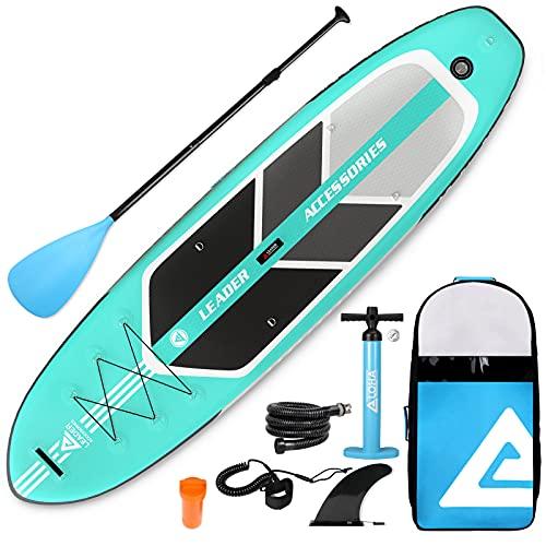 Leader Accessories 10'6' All-Round SUP Board aufblasbar SUP Brett Stand Up Paddle Board 320x81x15cm /...