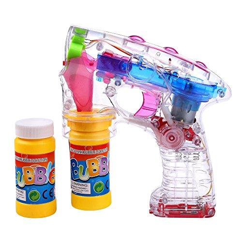 Schramm® LED Seifenblasenpistole incl. 2x50ml Seifenblasen Flüssigkeit OHNE BATTERIEN Pistole Bubble...