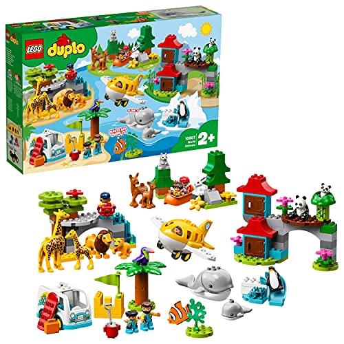 LEGO 10907 DUPLO Tiere der Welt, Lernspielzeug für Kleinkinder im Alter von 2 - 5 Jahren, inkl. Flugzeug...