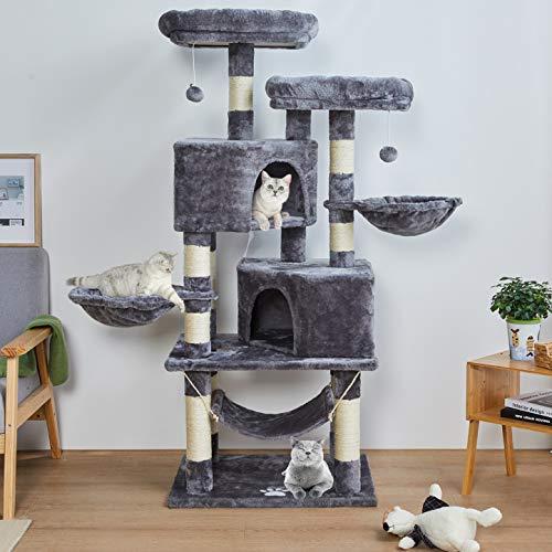 MSmask 145cm Kratzbaum Kletterbaum Stabil Mehrere Ebenen Plattform für Grosse Katzen mit groß Höhle,...