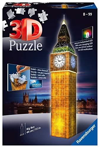 Ravensburger 3D Puzzle 12588 - Big Ben bei Nacht - Bauwerk im Miniatur-Format, 3D Puzzle für Erwachsene...