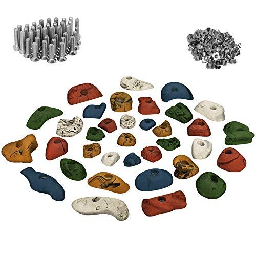 ALPIDEX Starterset: 35 Klettergriffe Klettersteine inklusive Schrauben und Einschlagmuttern - Farbe:bunt