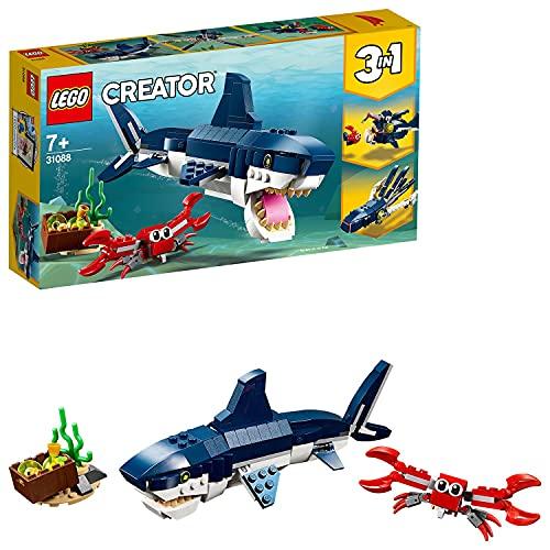 Lego 31088 Creator Bewohner der Tiefsee, 3-in-1 Set mit Hai, Krabbe und Schatztruhe, Spielzeuge für...