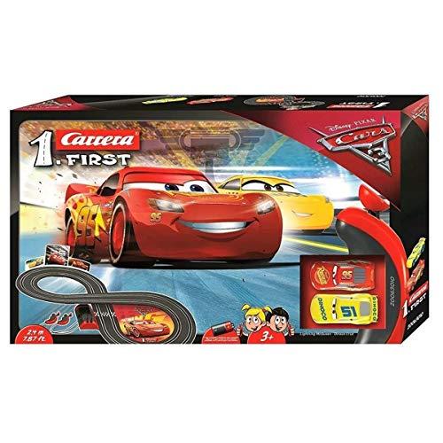 Carrera FIRST Disney·Pixar Cars 3 – Carrerabahn für Kleinkinder – Elektrische Autorennbahn mit...