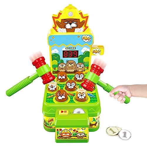 Whack Spiel, Schlag den Maulwurf, Elektronisches Mini Arcade Spielzeug, Münzspiel mit 2 Hämmern,...
