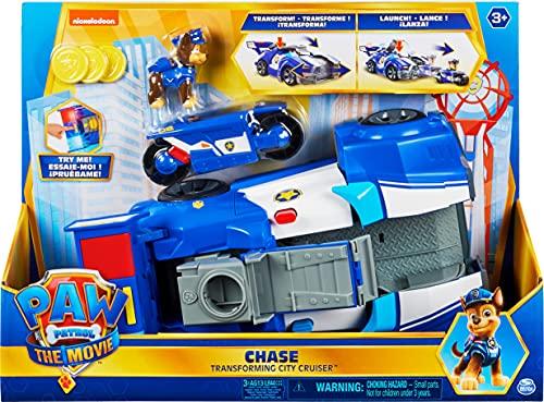 Paw Patrol Chases 2-in-1 Polizeicruiser aus dem Kinofilm, Deluxe Verwandlungsfahrzeug, mit Spielfigur und...