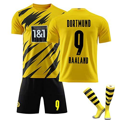 DLBJ Fußballuniform for Kinder Männer, 9 Haaland 2021 Heim- Und Auswärts Fußball Trikots Fans Jersey...