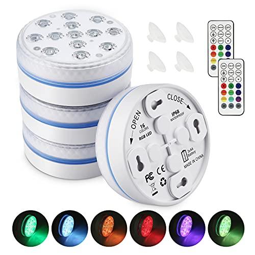 Moxled Unterwasser Licht, 13 LED Poolbeleuchtung Unterwasser Magnetische mit Fernbedienung, Wasserdichte...
