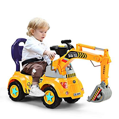 DREAMADE Sitzbagger mit Licht und Sound für Kleinkinder(3-5 Jahre alt ), Kinderauto Bagger aus PP...