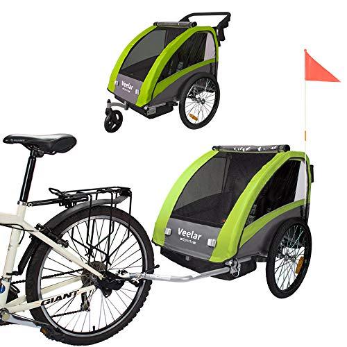 Tiggo Kinderfahrradanhänger Fahrradanhänger Jogger 2in1 Anhänger Kinderanhänger 60302-02 GRÜN