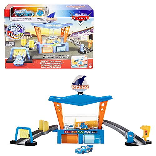 Pixar and Disney Cars Color Change Dinoco Car Wash Playset with Pitty and Exclusive Lightning McQueen...