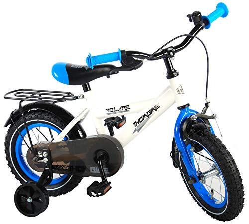 Kinderfahrrad Jungen Thombike 12 Zoll mit Vorradbremse am Lenker und Rücktrittbremse, Stützräder Weiß...